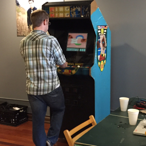 Playing Mario Bros on our fixed up arcade cabinet.