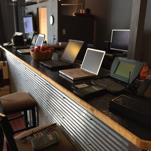 A display of our collection of old Apple computers.